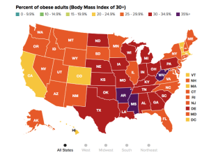 CDC Obesity Map 2014