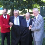 From left, Dr. Arya Sharma, Health Minister Gene Zwozdesky, patient Jim Starko and Alberta Health Services CEO Dr. Chris Eagle